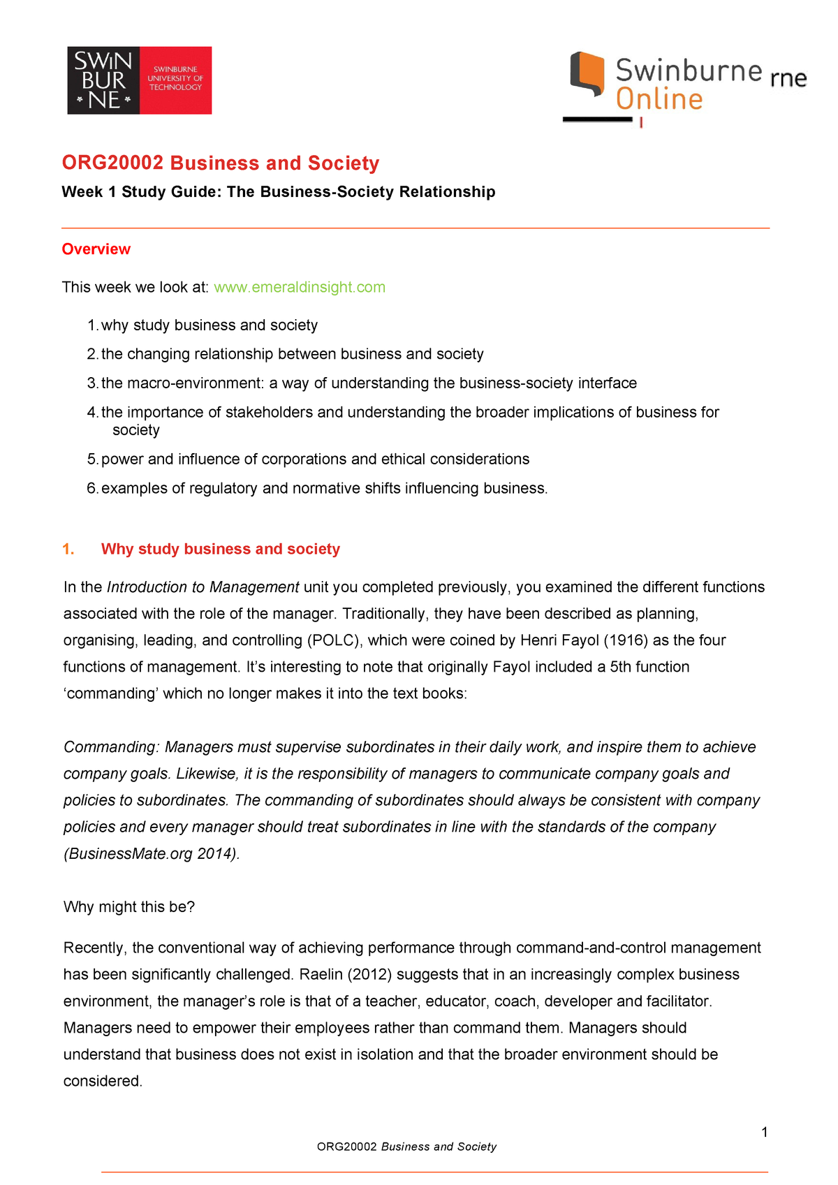 Week 1 Study Guide The Business-Society Relationship - StuDocu