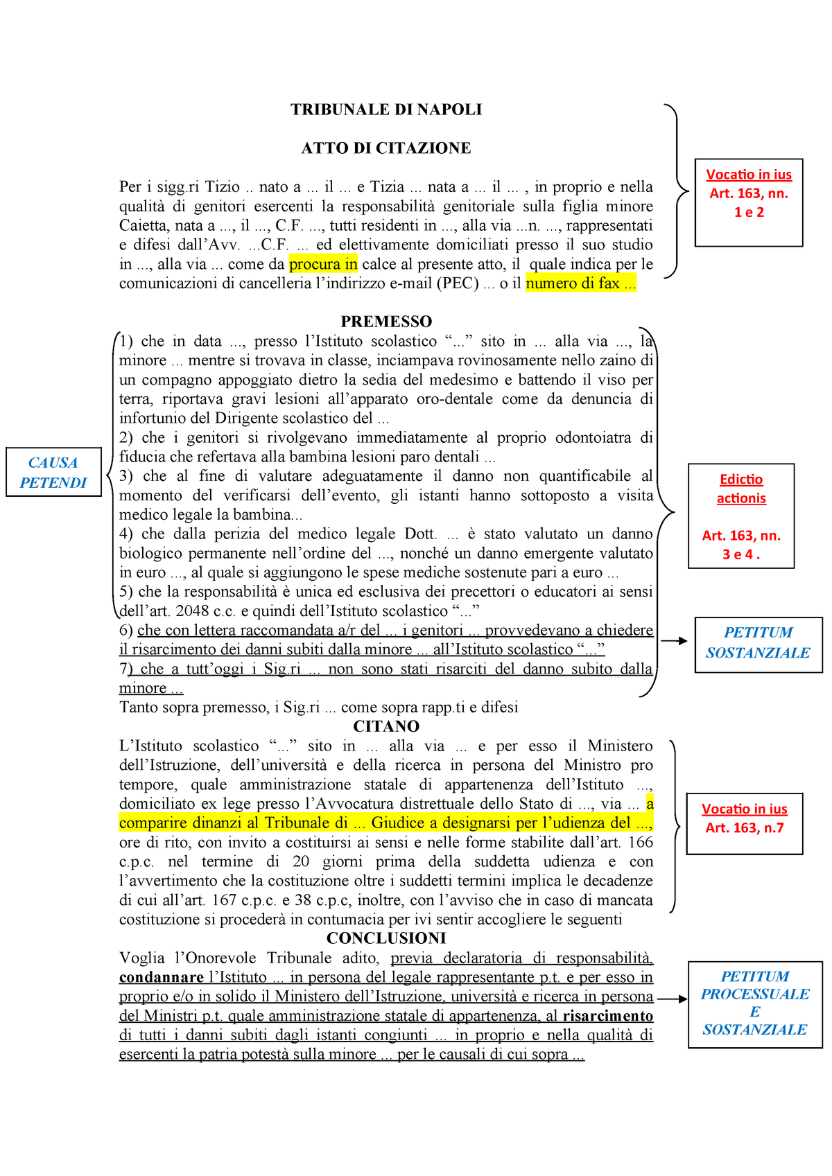 Atto di citazione - Istituzioni di diritto privato 00001 ...
