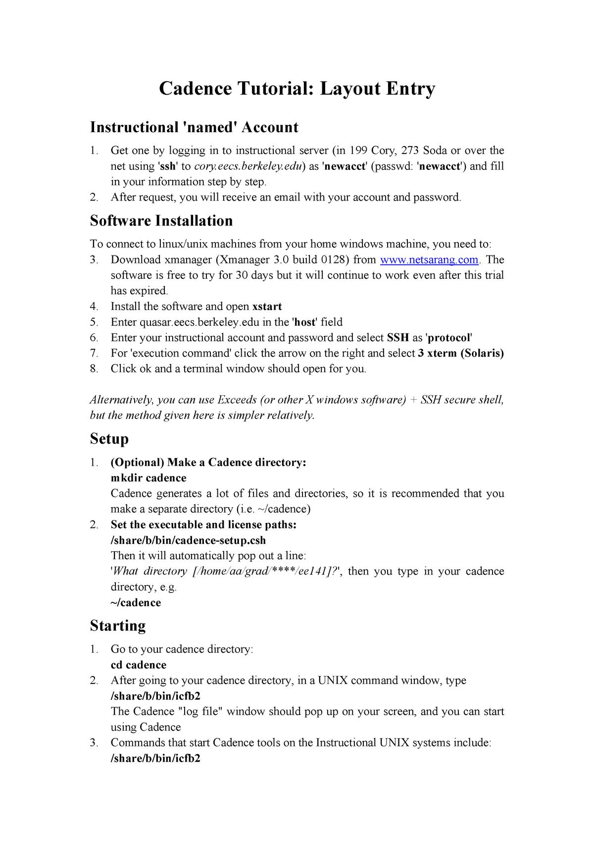 Tutorial work on Cadence tutorial layout entry - EE C247B/ME C218
