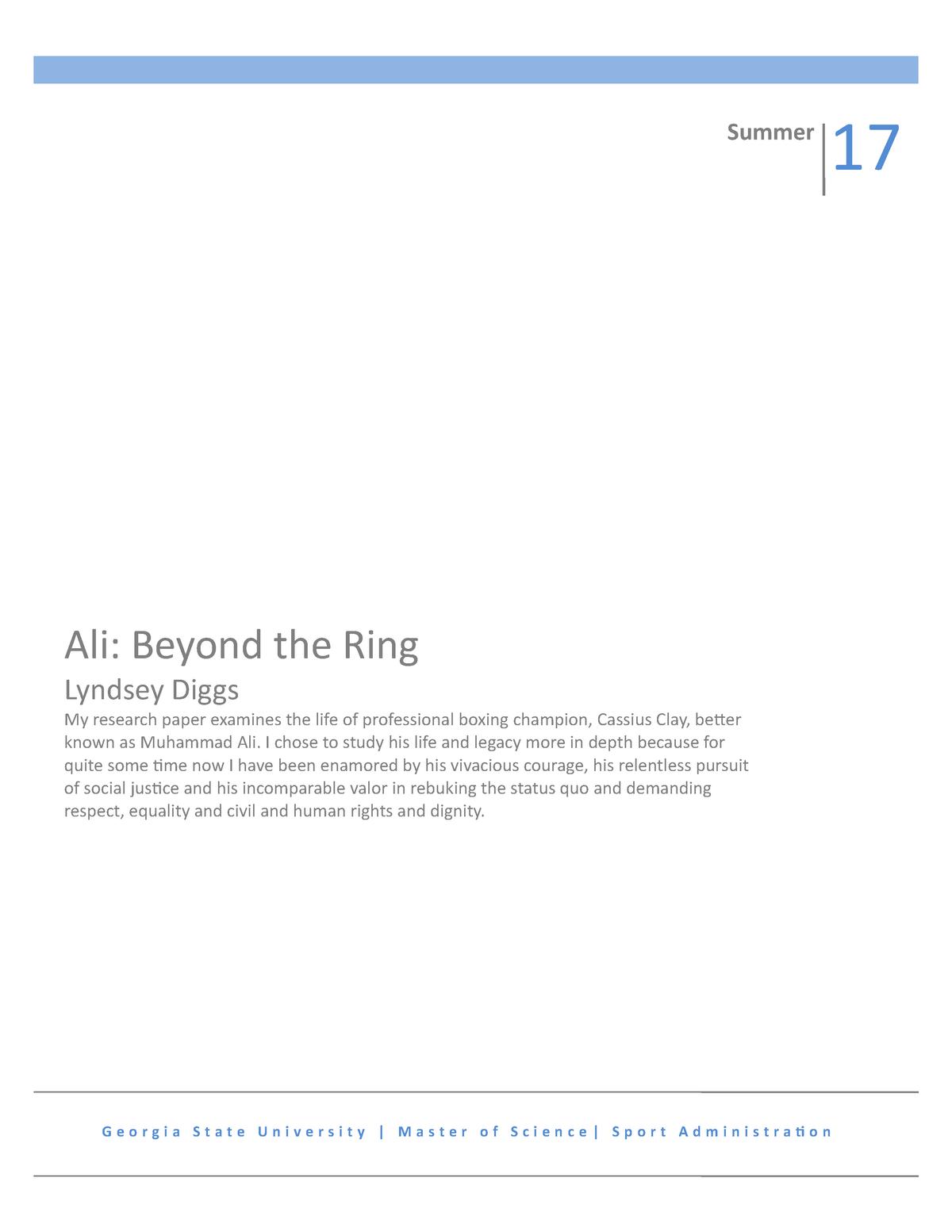 Muhammad ali research paper international marketing essay