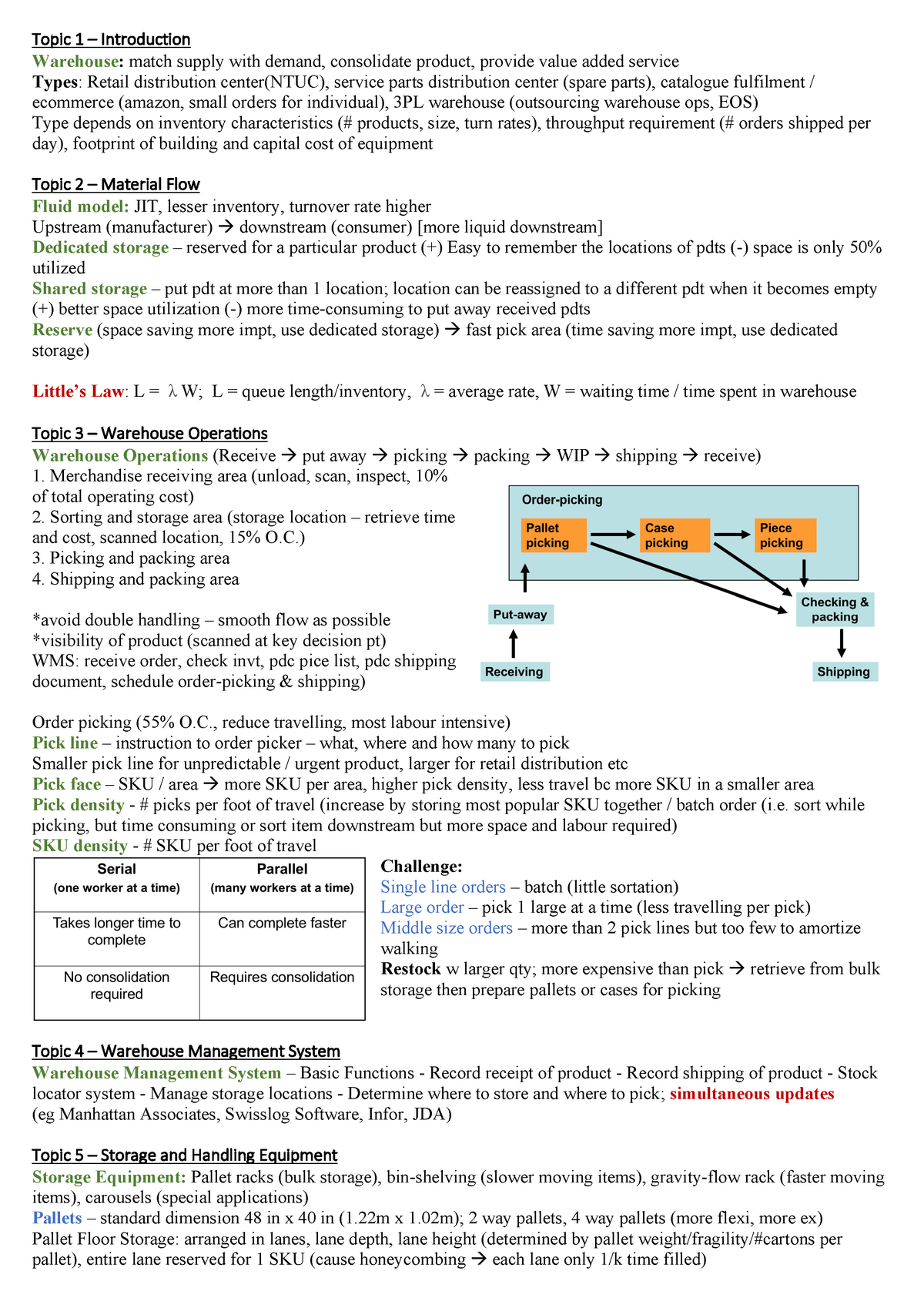 Descargar Pdf Ebook Warehousing Cheatsheet - OPIM322 - StuDocu