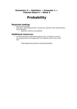 Econ 2 - Stats - S1 - W5 - Solutions - ECNM08006: Economics 2 - StuDocu
