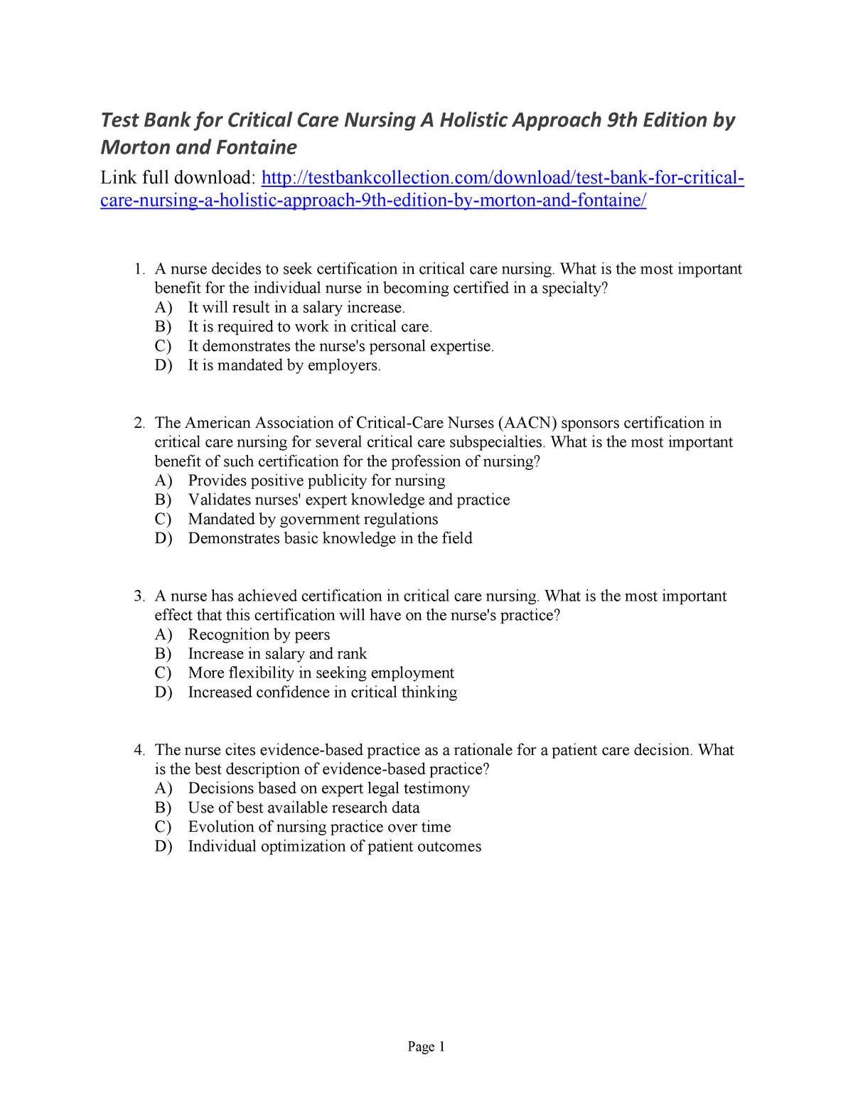 Test Bank For Critical Care Nursing A Holistic Approach 9th