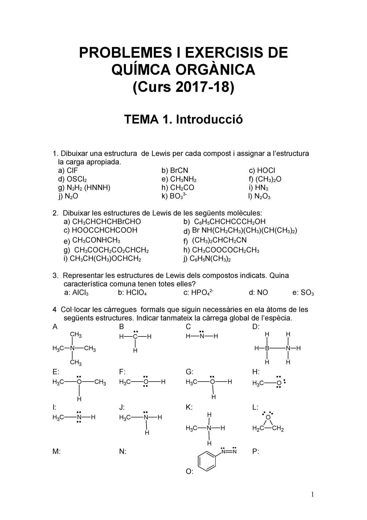 Problemes Químca Orgànica 2017 18 Udl Studocu