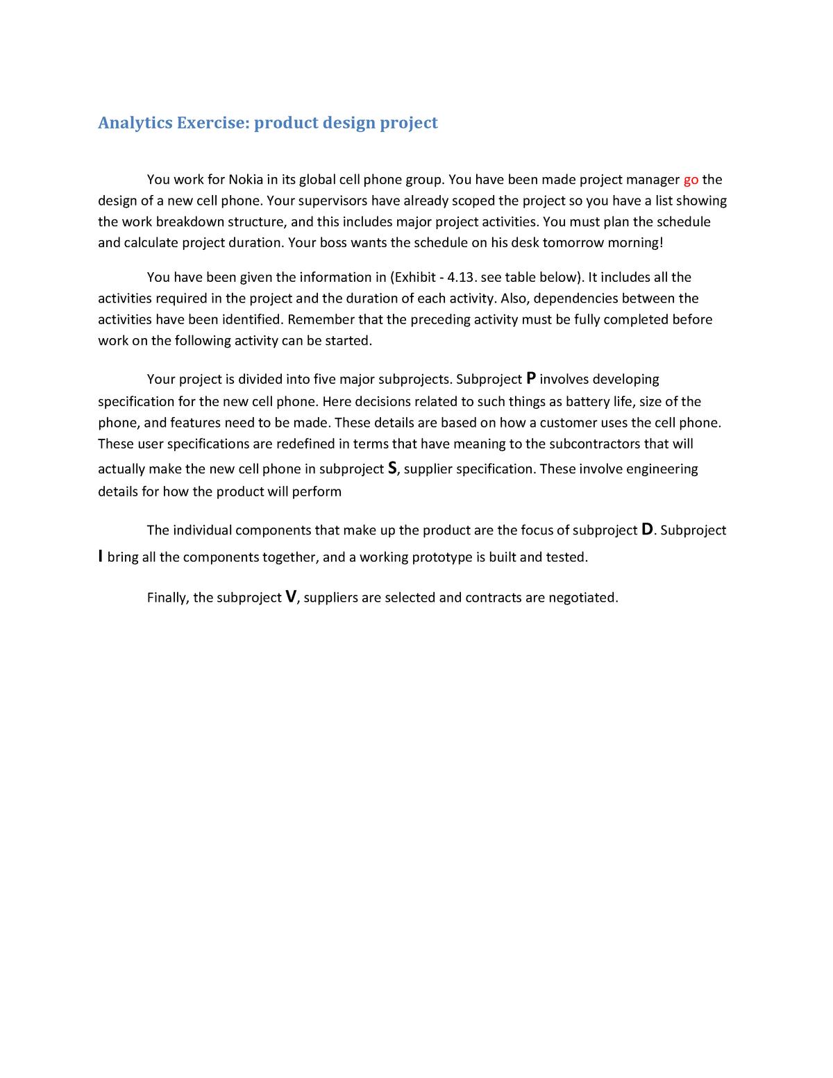 OSCM-2121- Case Study-Chapter 4-Analytics Exercise-2018