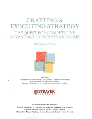 thompson crafting and executing strategy pdf studocu