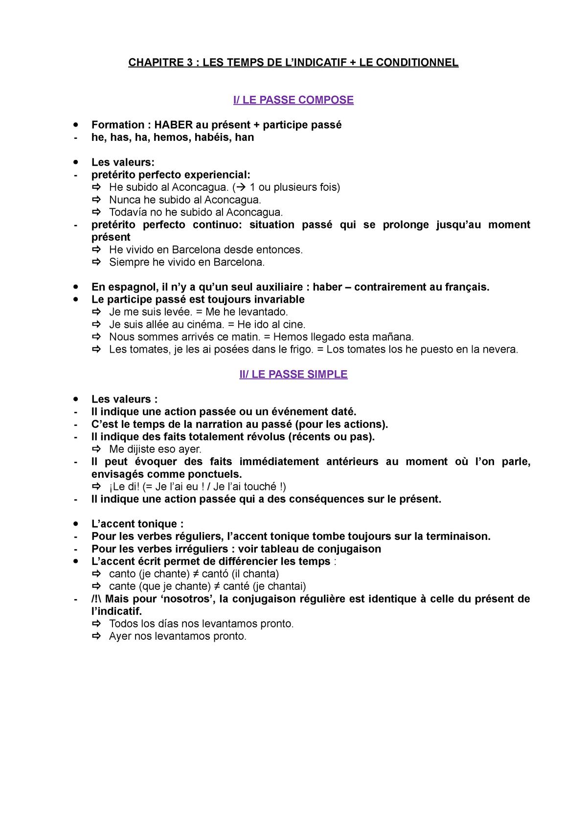Grammaire Espagnole Fiche 3 Studocu