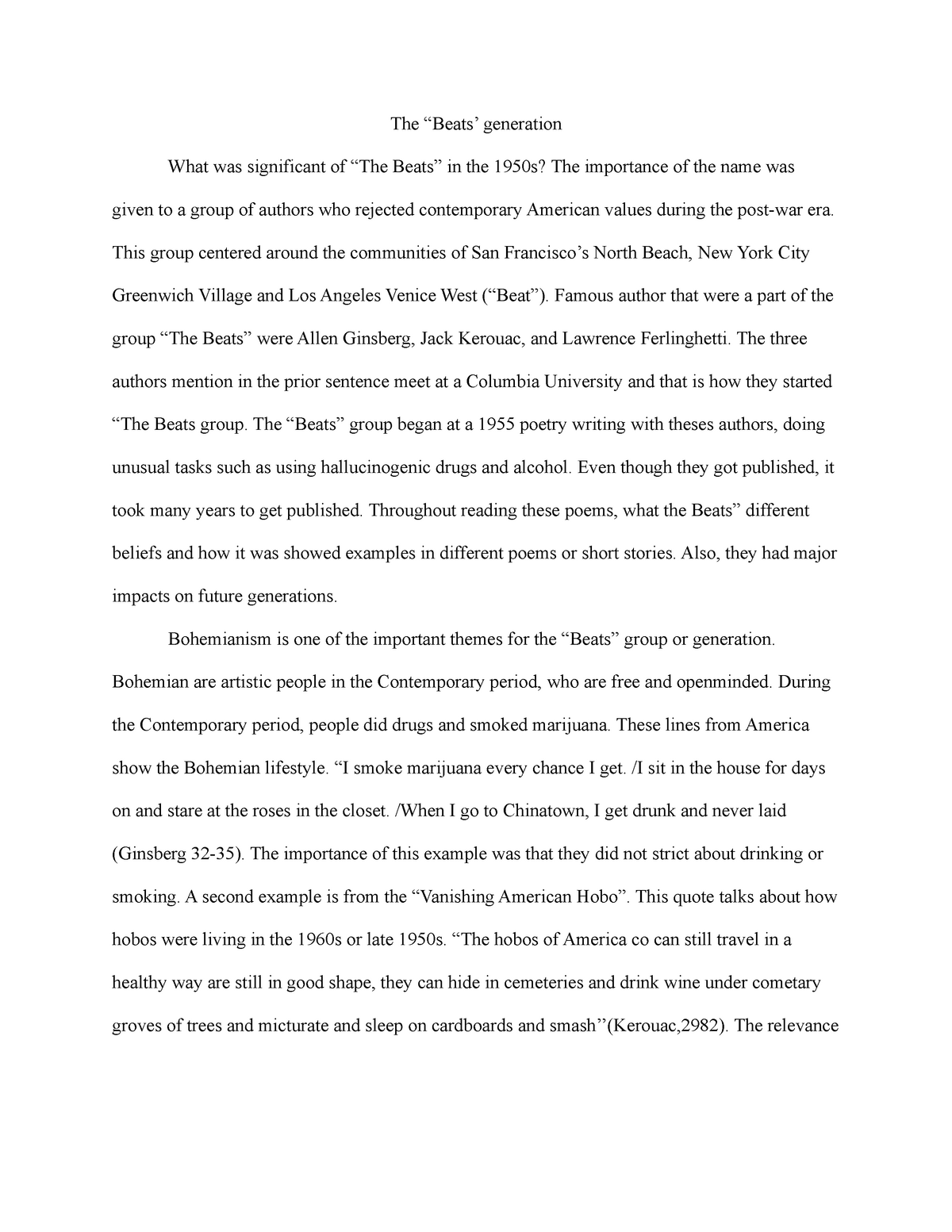 The beats 2 - American lit - ENG 102: English Composition Ii