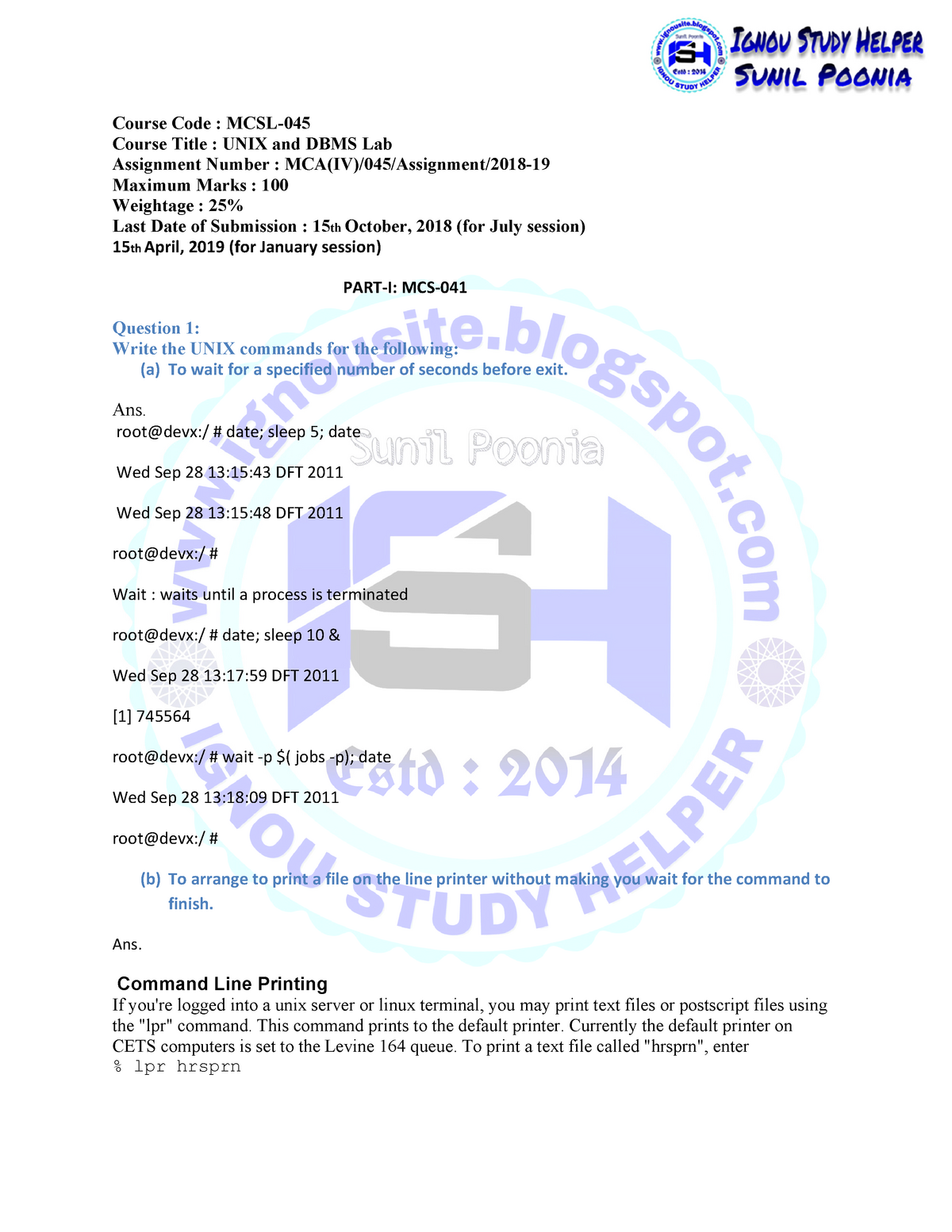 MCSL-045 2018-19 - UNIX and DBMS LAB MCSL-045 - ignou - StuDocu