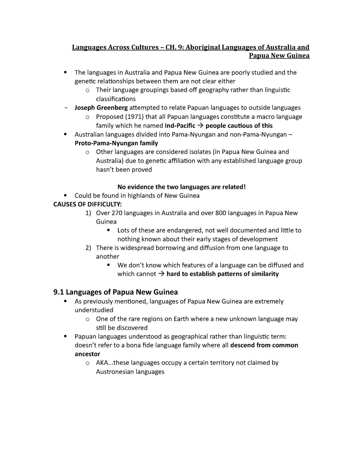 CH  9 - Australian & Papua New Guinea languages - ANTH 1203