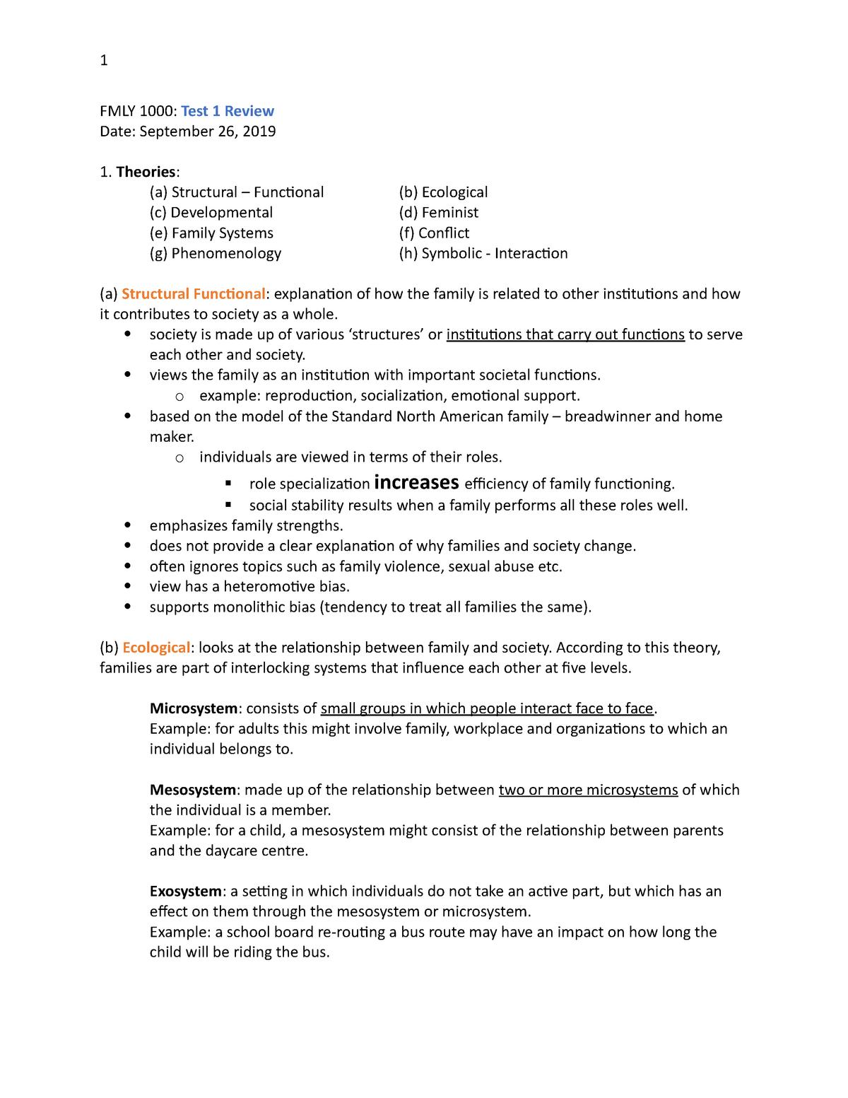 Test 1 Review Fmly 1000 U Of M Studocu
