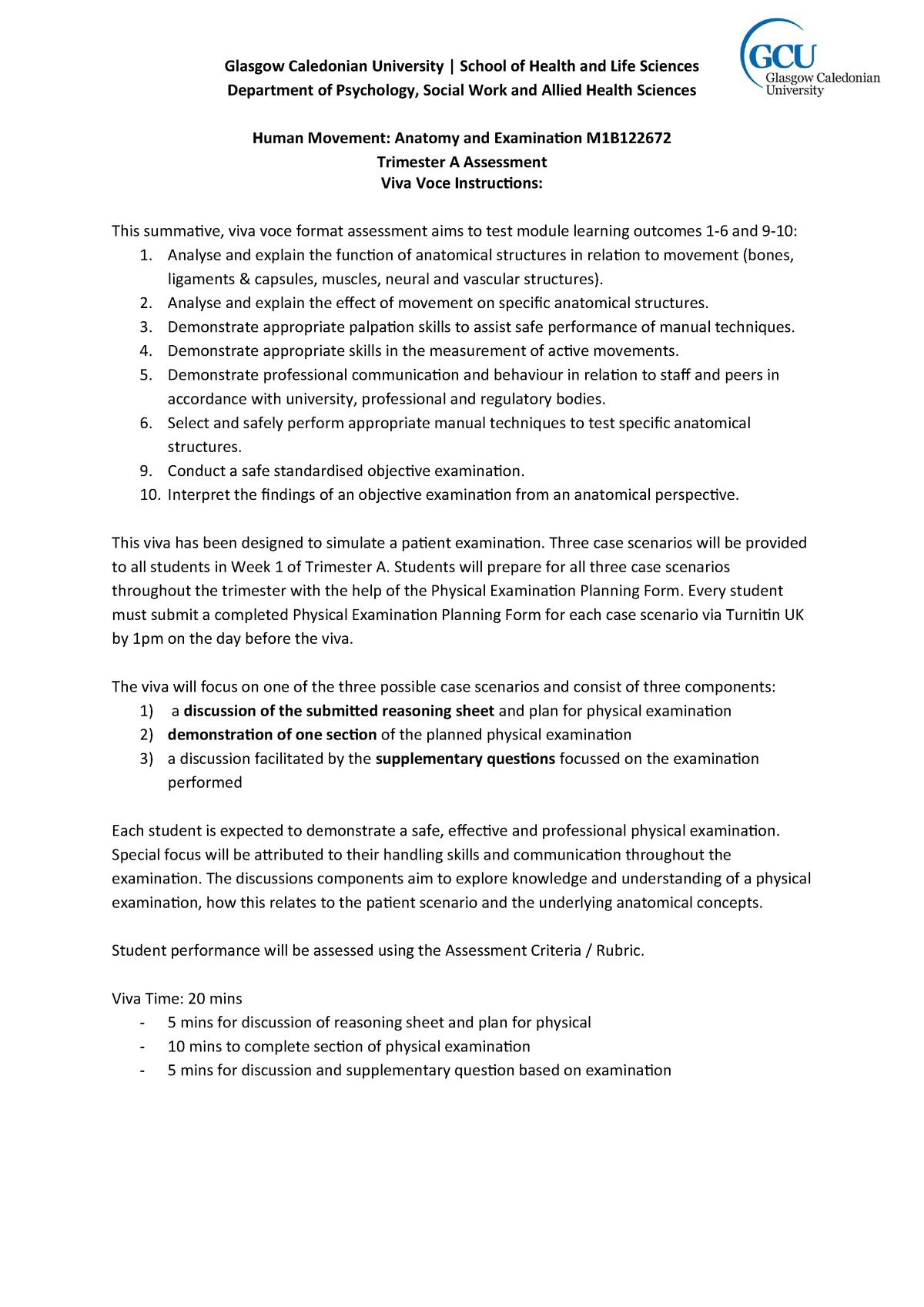 VIVA PLAN - Exam plan for first Tri A viva - M1B122672