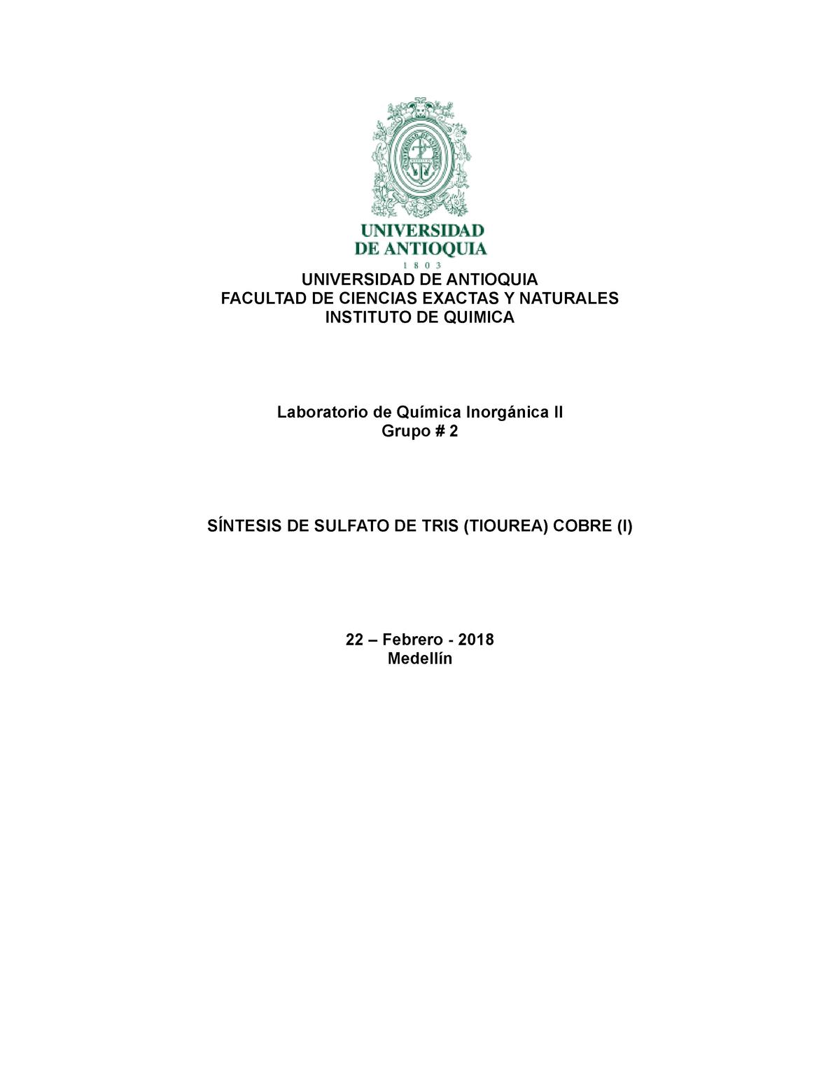 Informe 1 Inorgánica Ll Química 216 Udea Studocu