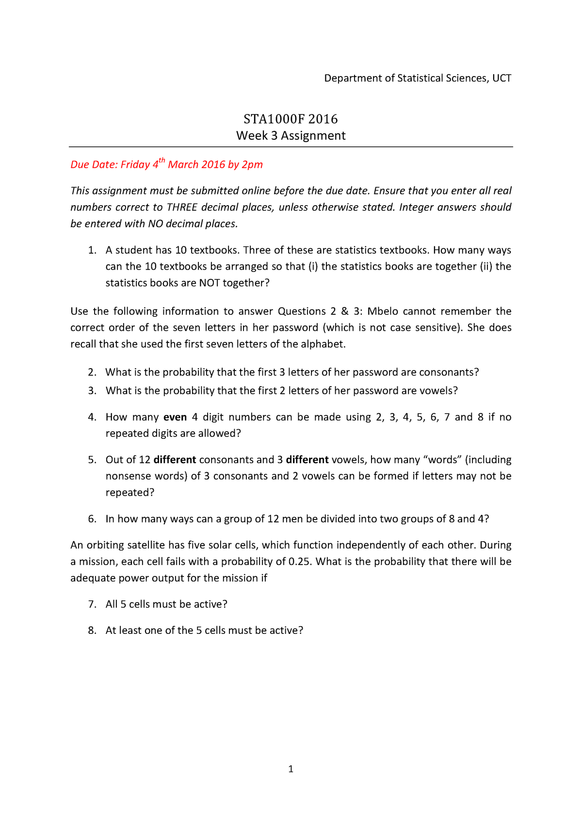 Assignment+3+NO+Answers+STA1000F+2016-1 - STA1000F
