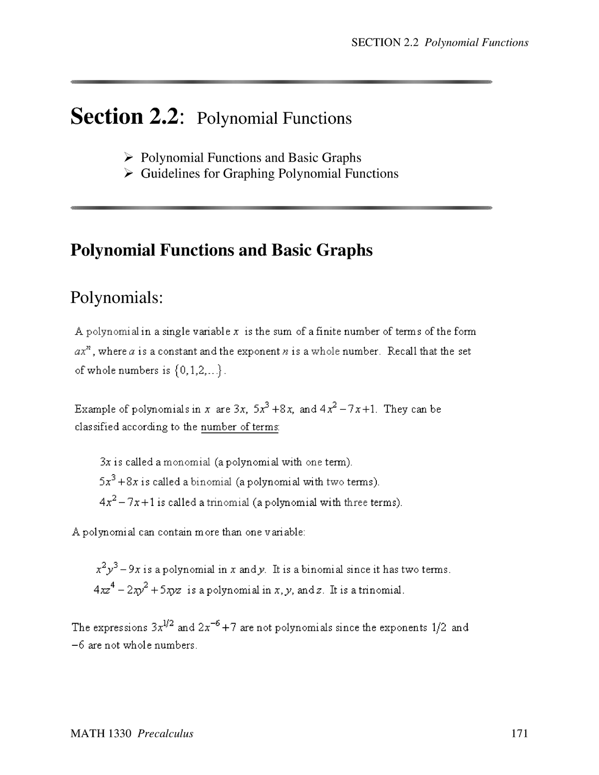 Polynomial Functions - Section 2 2 - MATH 1330: Precalculus - StuDocu