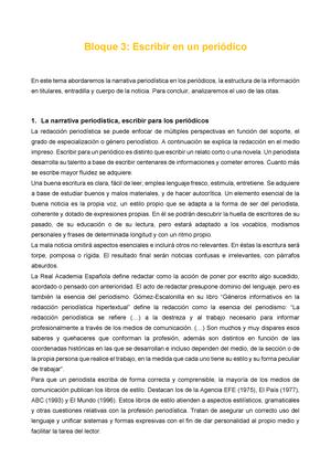 Fundamentos Del Periodismo Bloque Iii 2016 Urjc Studocu