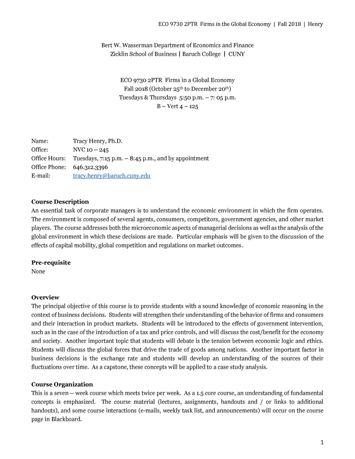 Course syllabus - ECO 9740: Fundamentals Of Macroeconomics - StuDocu