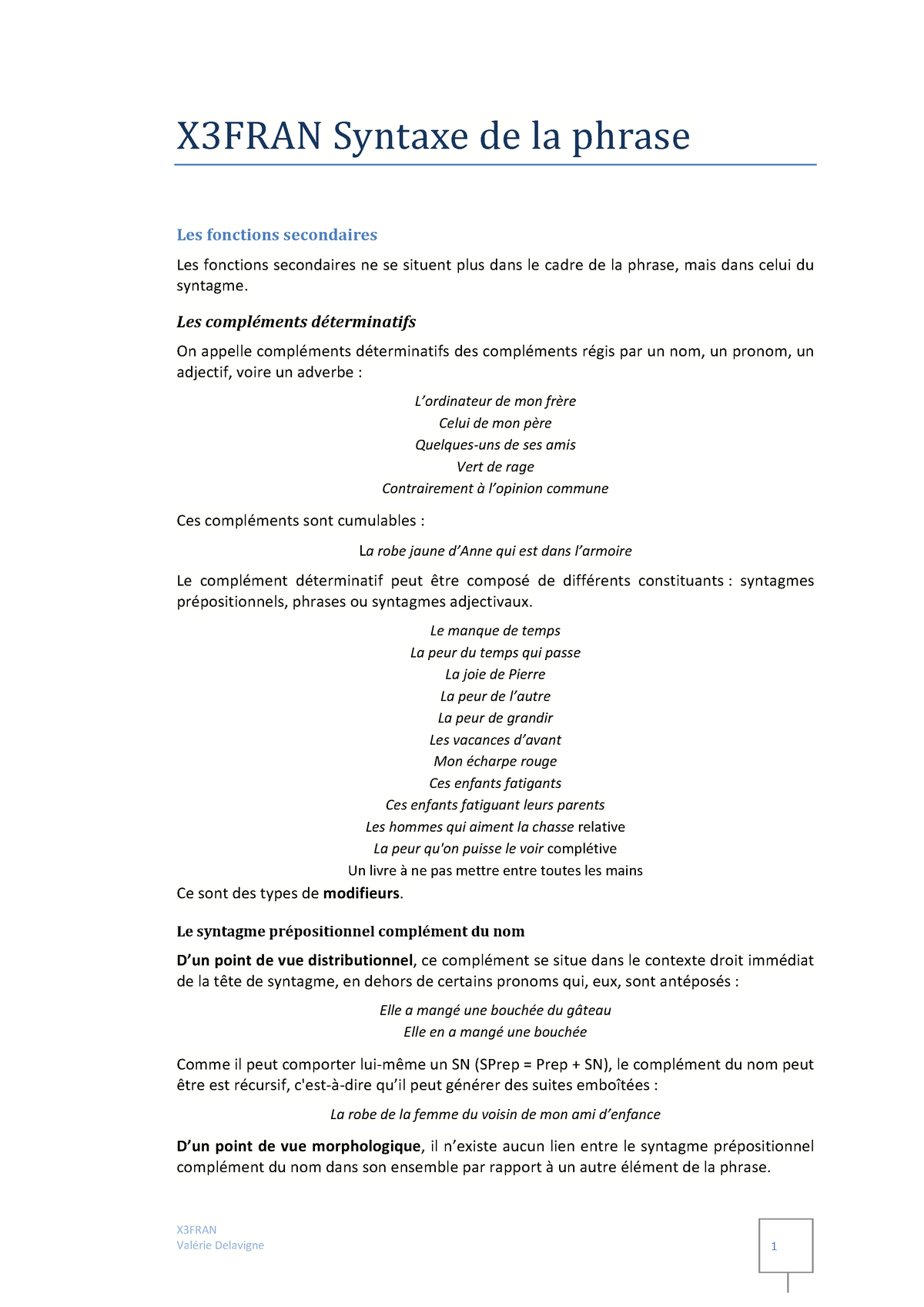 Fonctions Secondaires X3fran 2 Universite Paris 3 Studocu