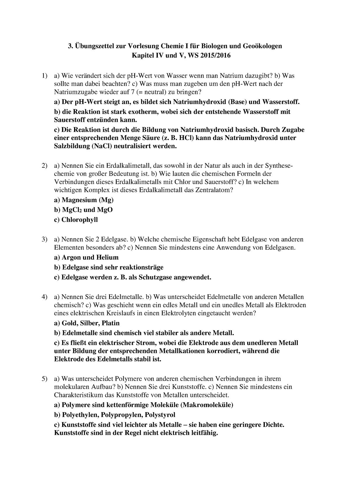 3 übungszettel Zu Kapitel Iv Und V Mit Lösung 26330