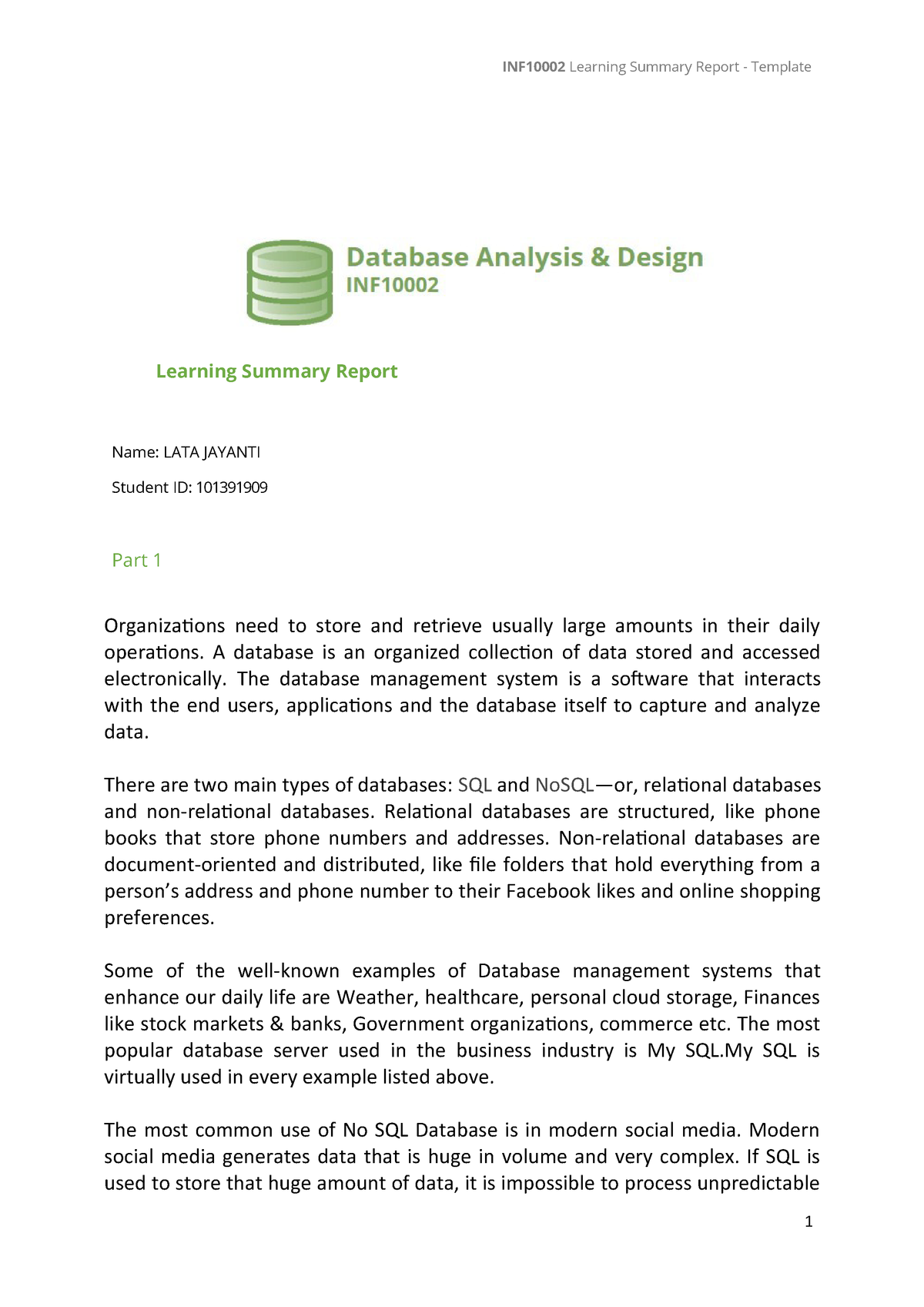 learning summary report - INF10002 - Swinburne - StuDocu