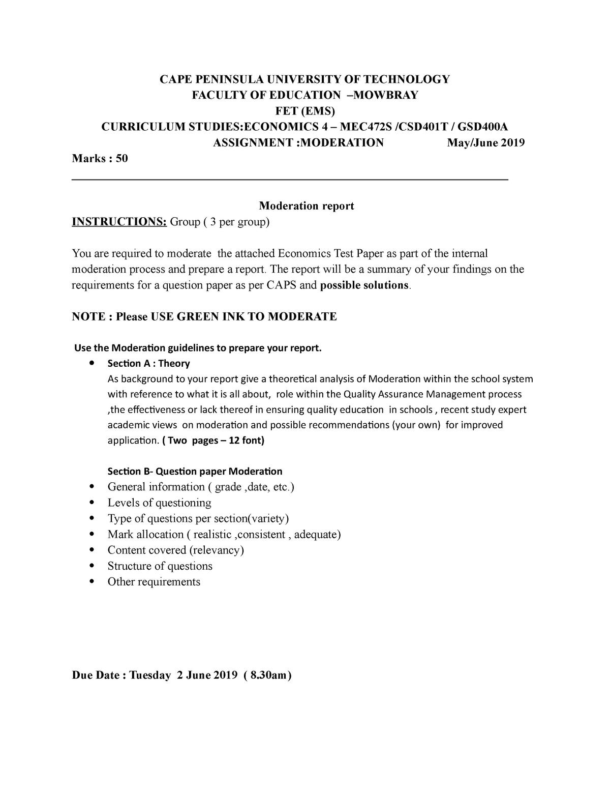 SD Eco 4 2019 BB Moderation assignment - S202EVC - CPUT