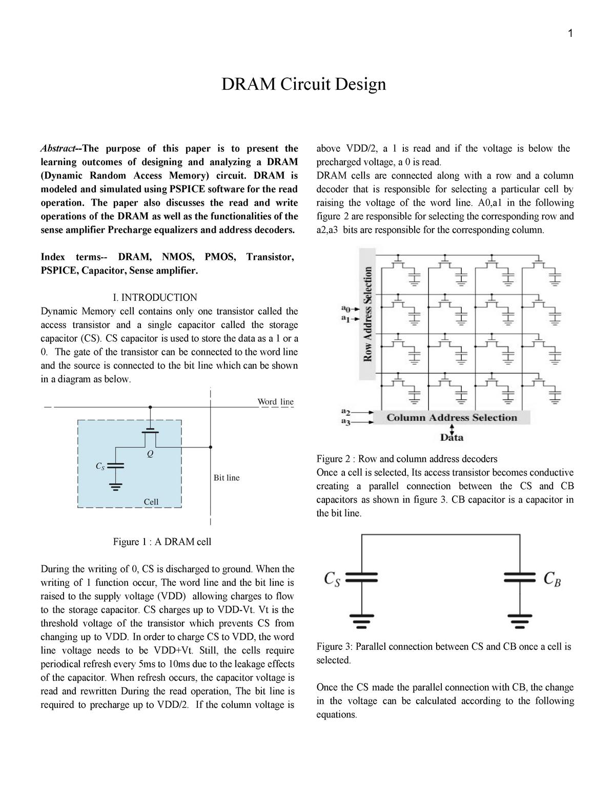 Dynamic Random Access memory project - ECE 442 - CSUN - StuDocu
