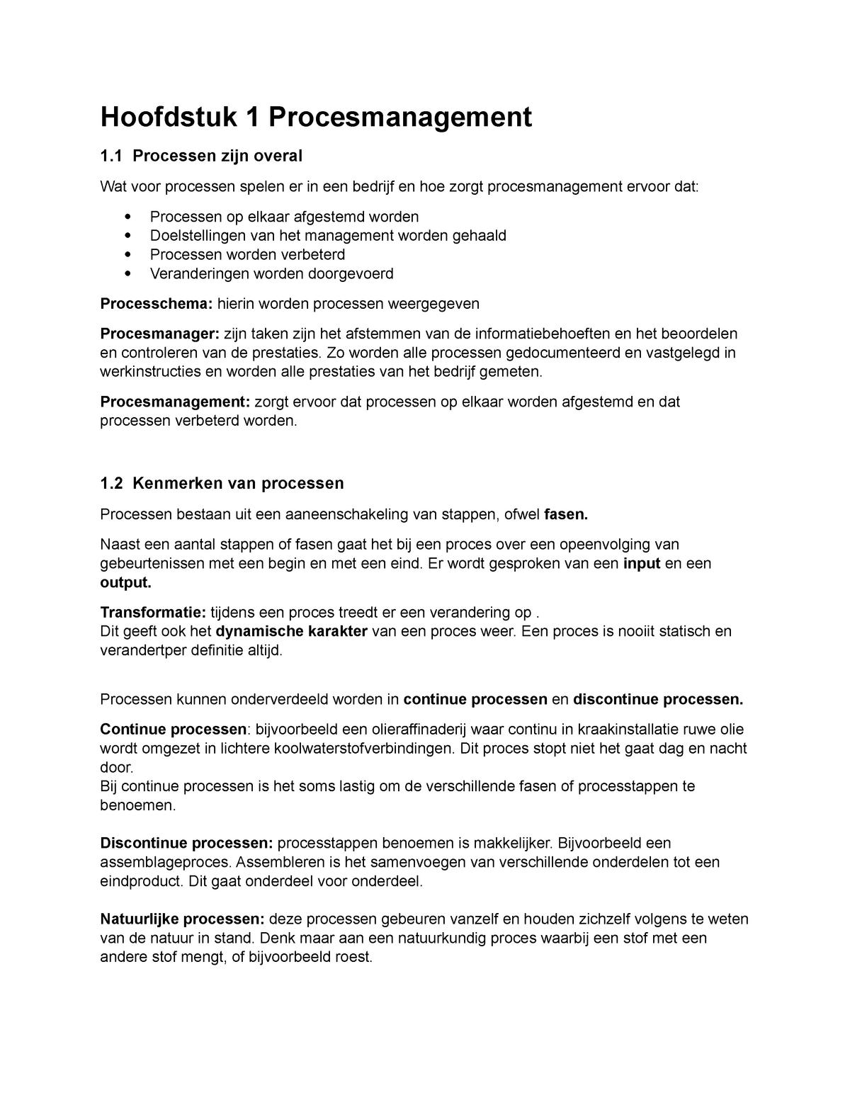 Hoofdstuk 1 Procesmanagement Ebc2050 Studeersnel