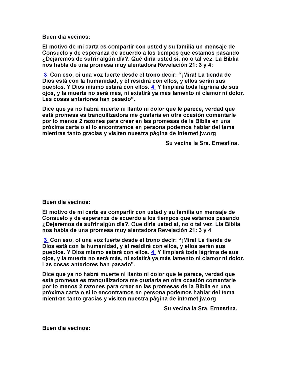 Cartas alo   Buen dia vecinos El motivo de mi carta es compartir ...