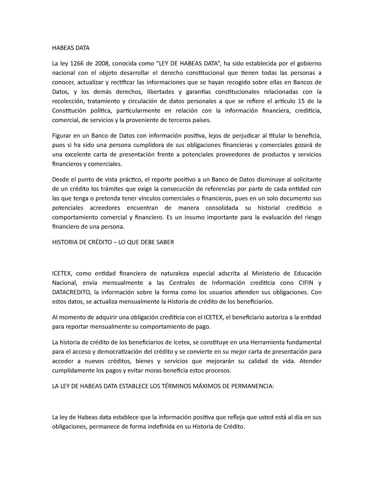 Habeas Data Y Centrales De Informacion Financiera 2015446