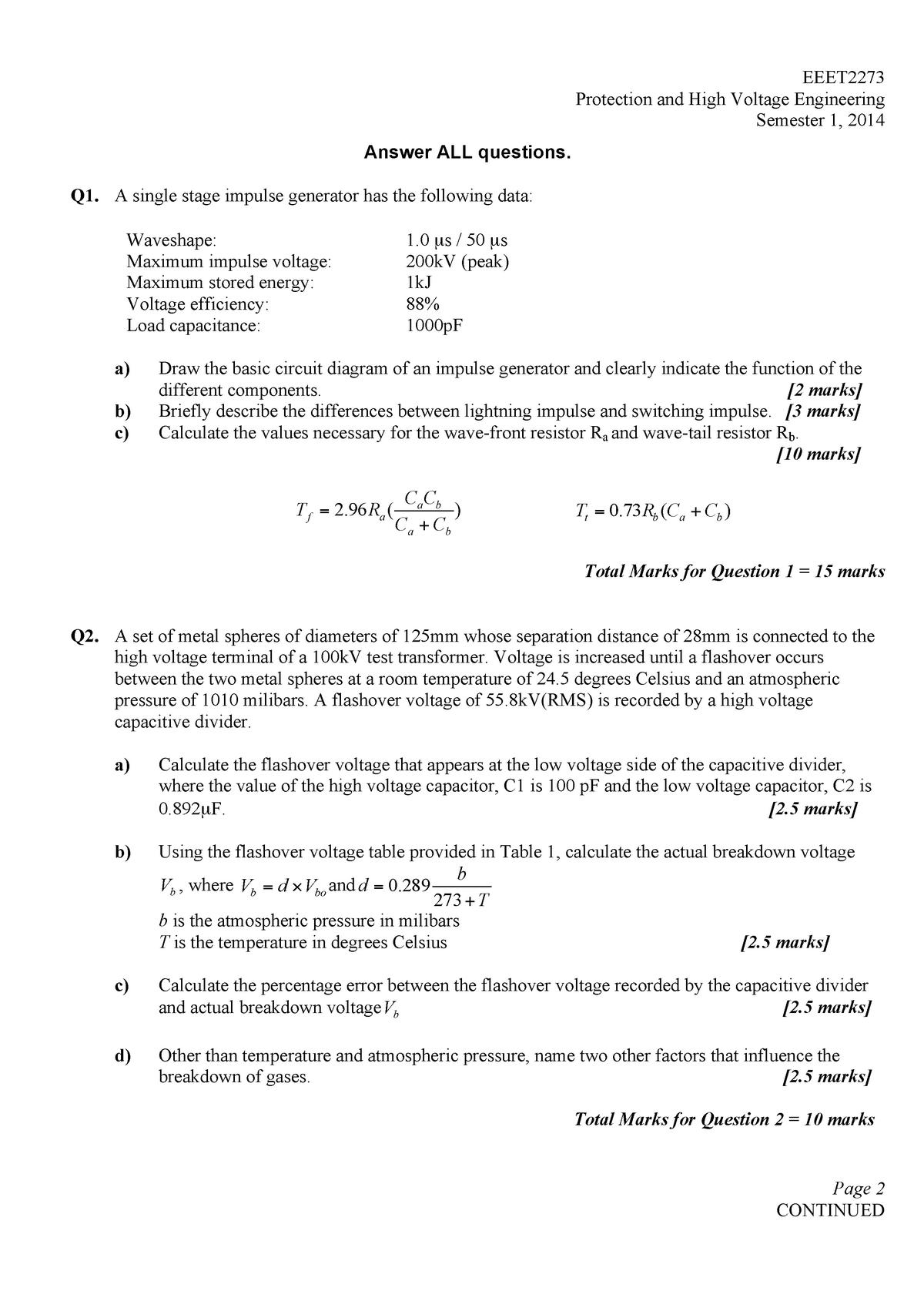 Exam 2014 Eeet2336 Protection And High Voltage Engineering Studocu