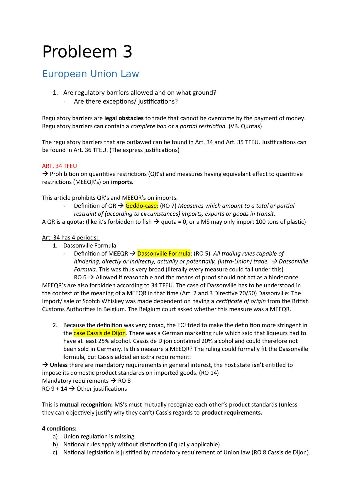 Probleem 3 - EUL - RR202: European Union Law - StudeerSnel nl