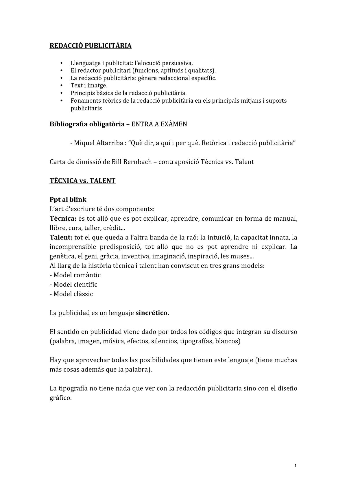 Redacció Publicitària Url Studocu