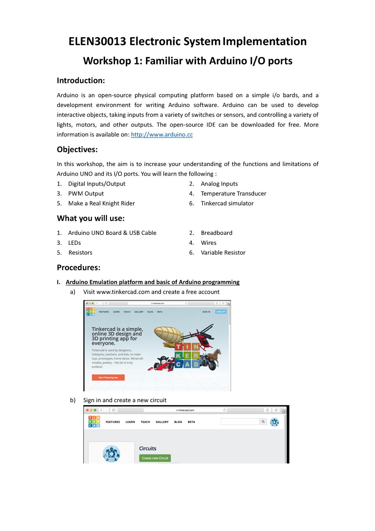 ELEN30013 Workshop 01 - Electronic System Implementation