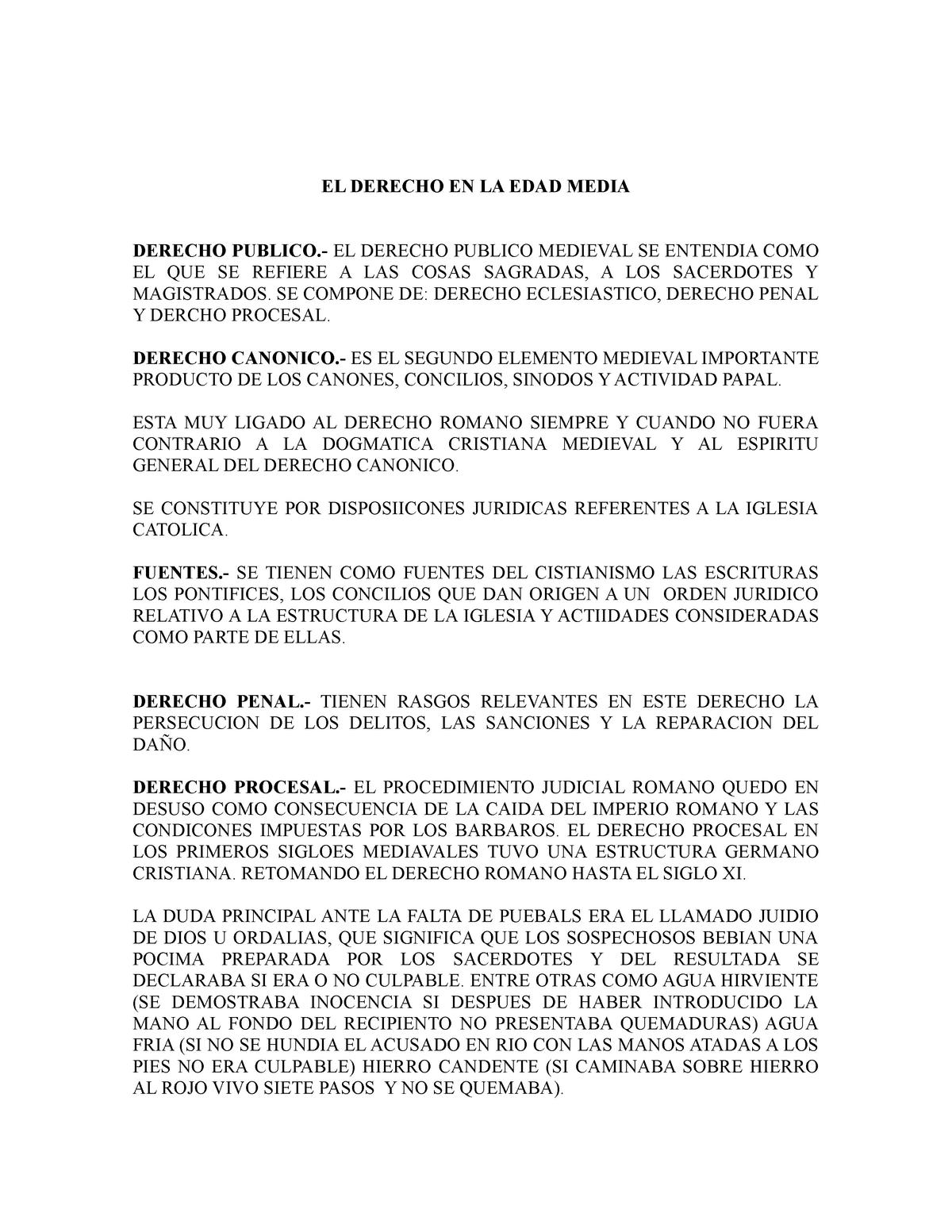 Resumen El Derecho En La Edad Media Prof Ignacio