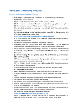 Marketing-Notes Overview - Principles of Marketing BU2520 - StuDocu