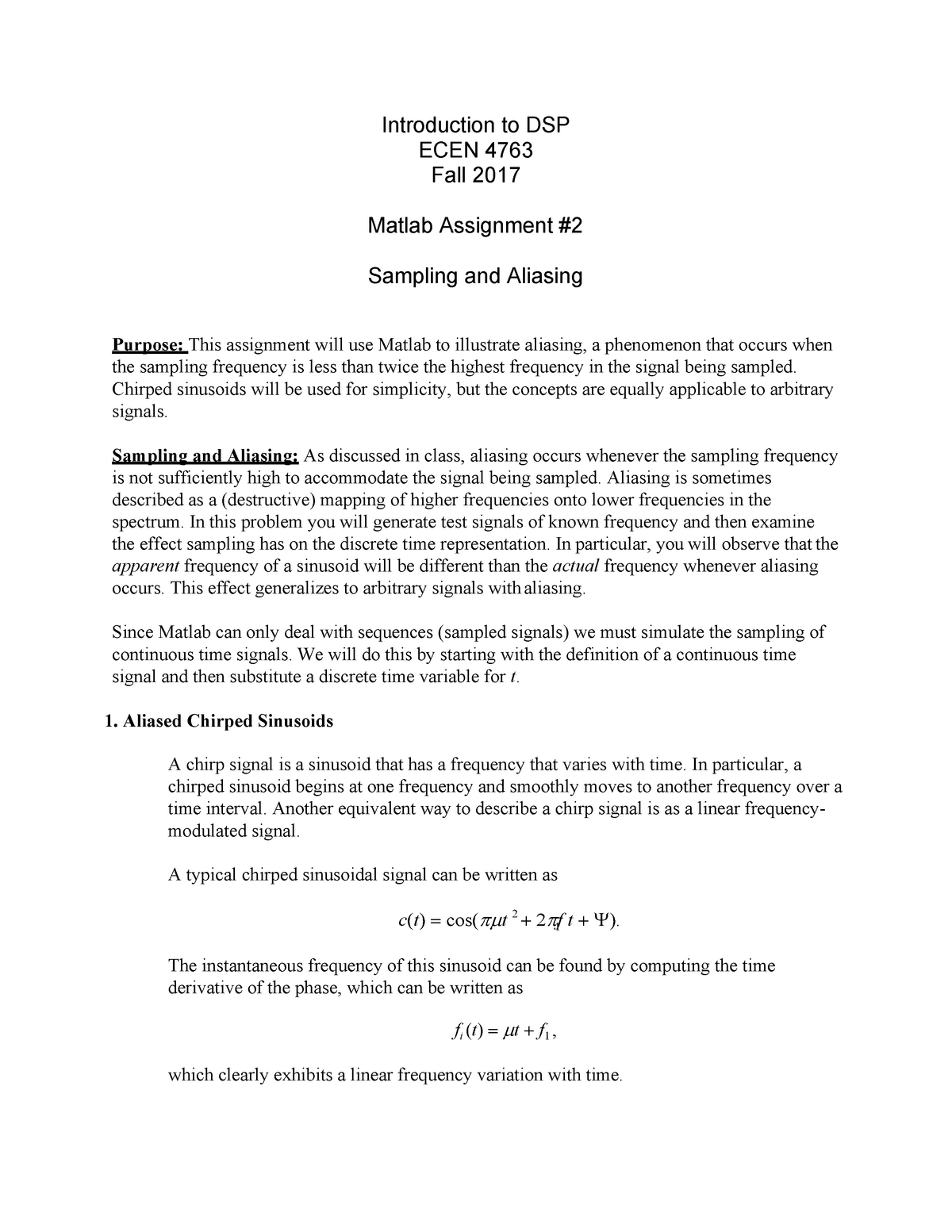 Matlab Assignment 2 (Questions only) - ECEN 4763 - OK State