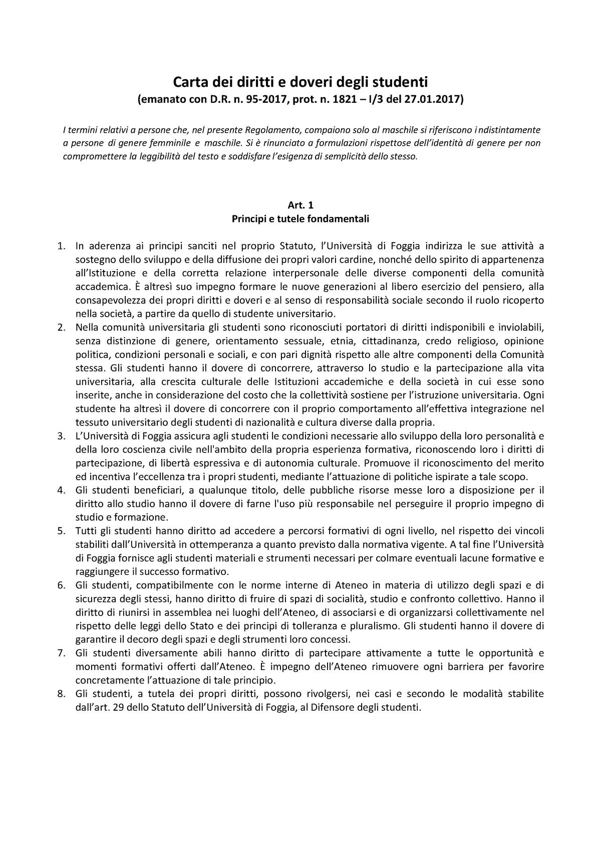 Calendario Appelli Unive.Carta Diritti E Doveri Studenti 2017 156013 Diritto