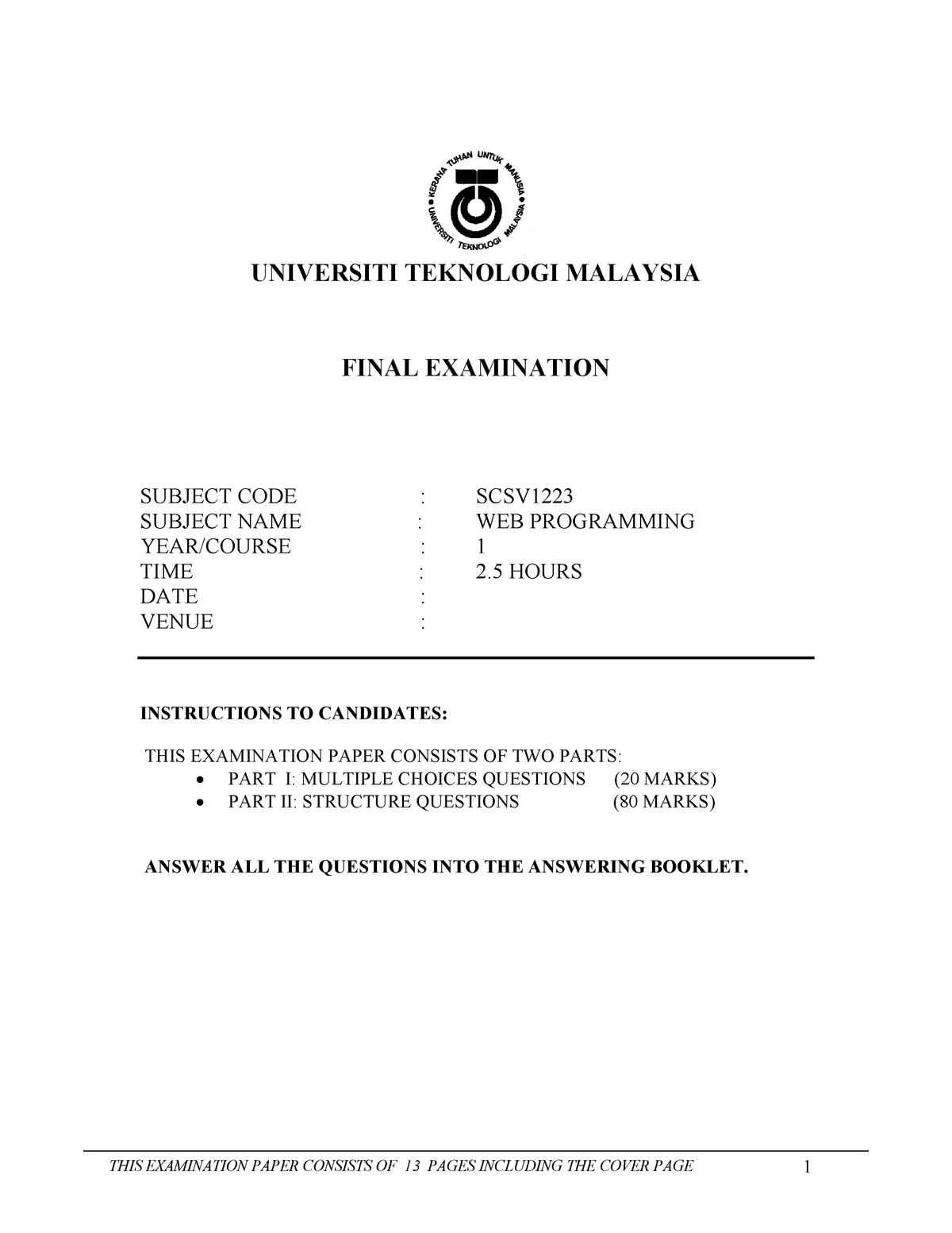 WEBPROG Final Exam Question - Web Programming SCSV 1223