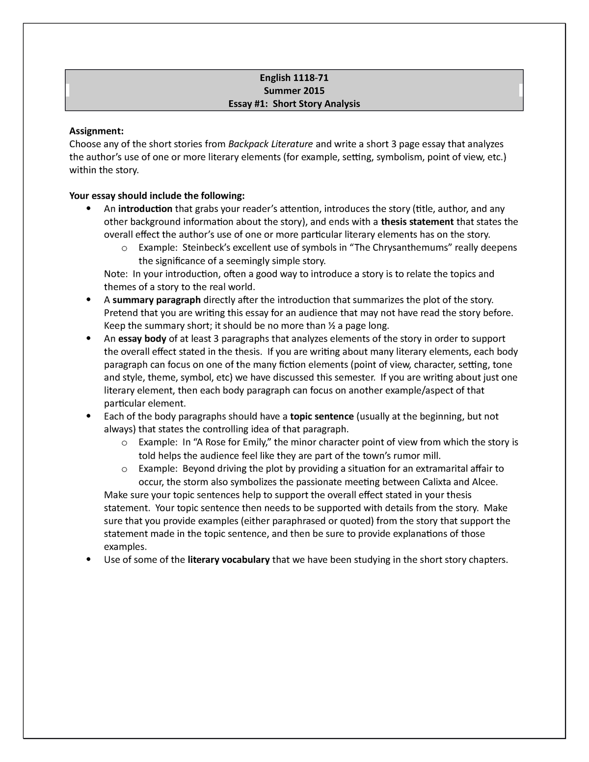 English 1118 Essay 1 - ENGL 1118: Reading And Writing