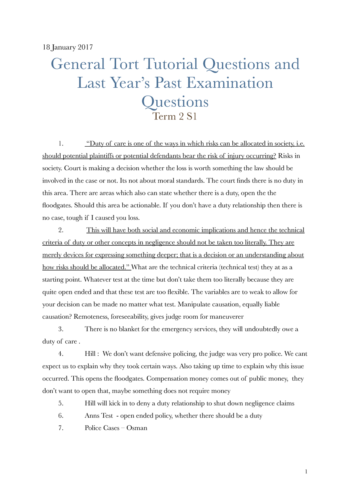 General Tort Tutorial Questions and Last Year's Past