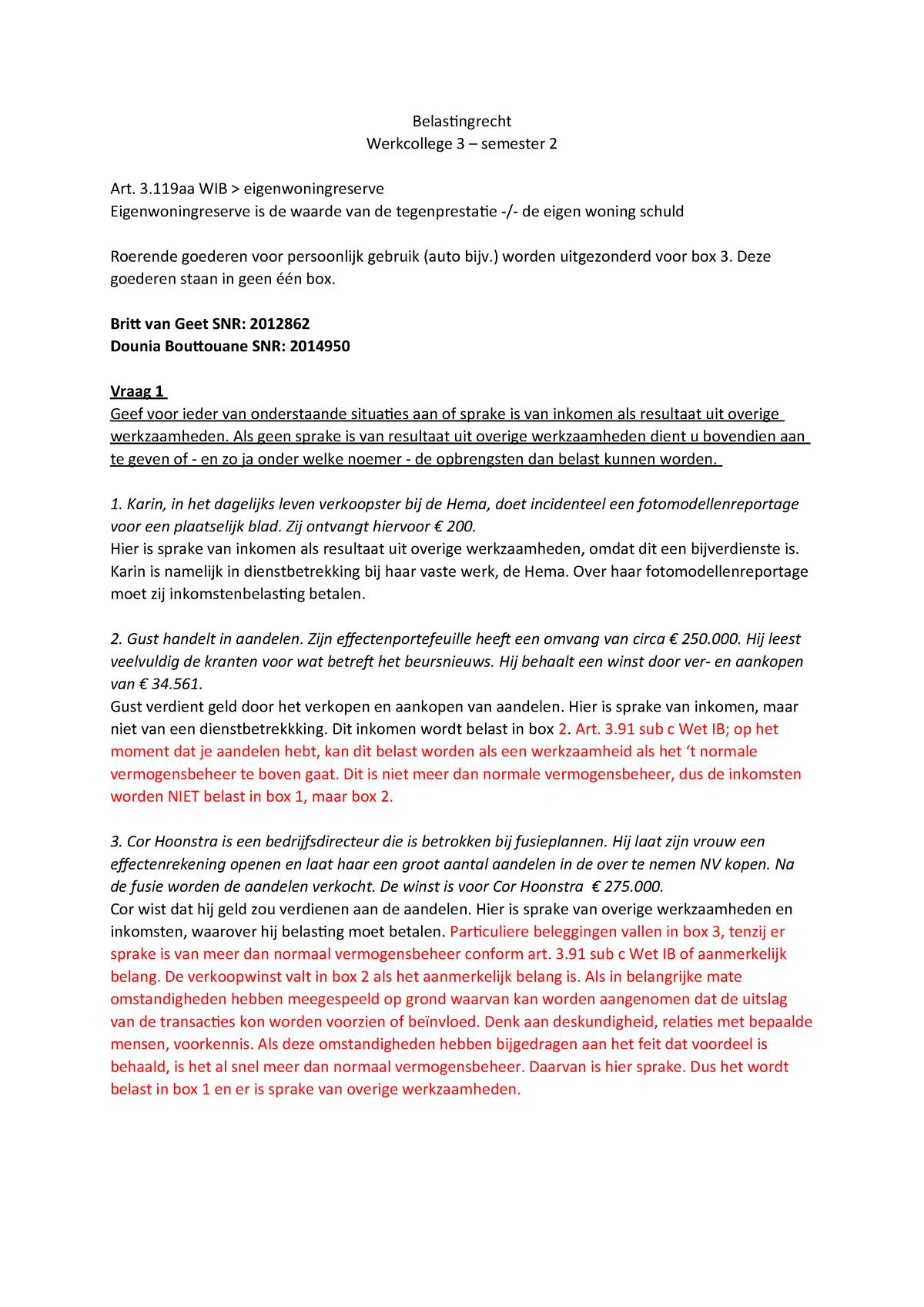 Belastingrecht werkcollege 3 - semester 2 - 695103