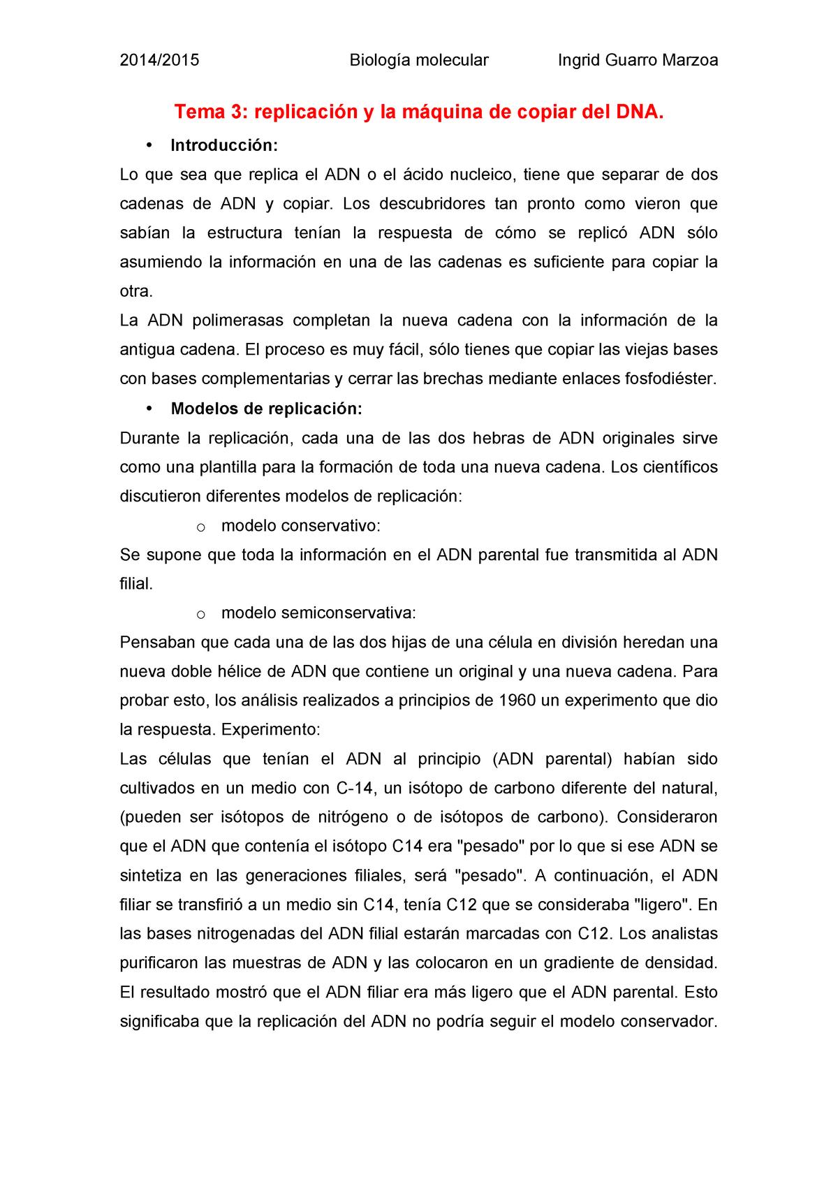 Tema 3 Replicación Y La Máquina De Copiar Del Dna Studocu