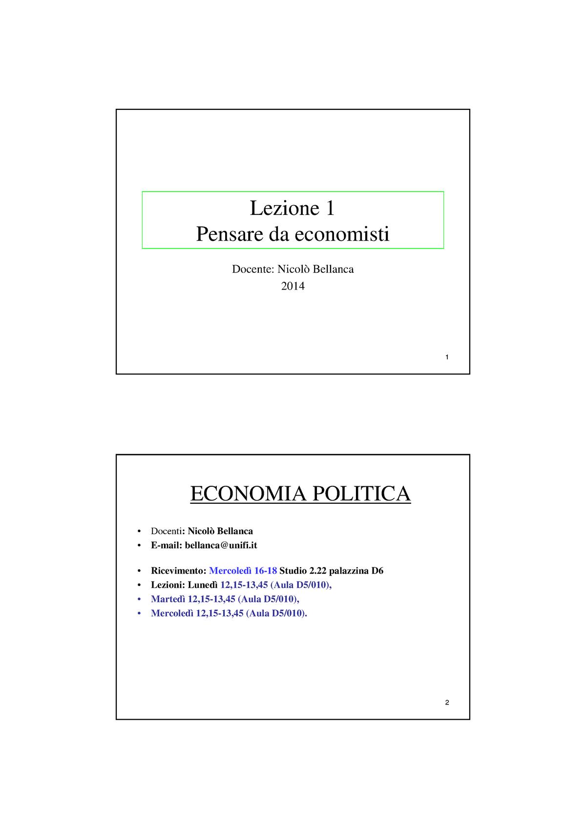Calendario Unifi Economia.Lezione 1 Pensare Da Economisti Economia Politica 0055002