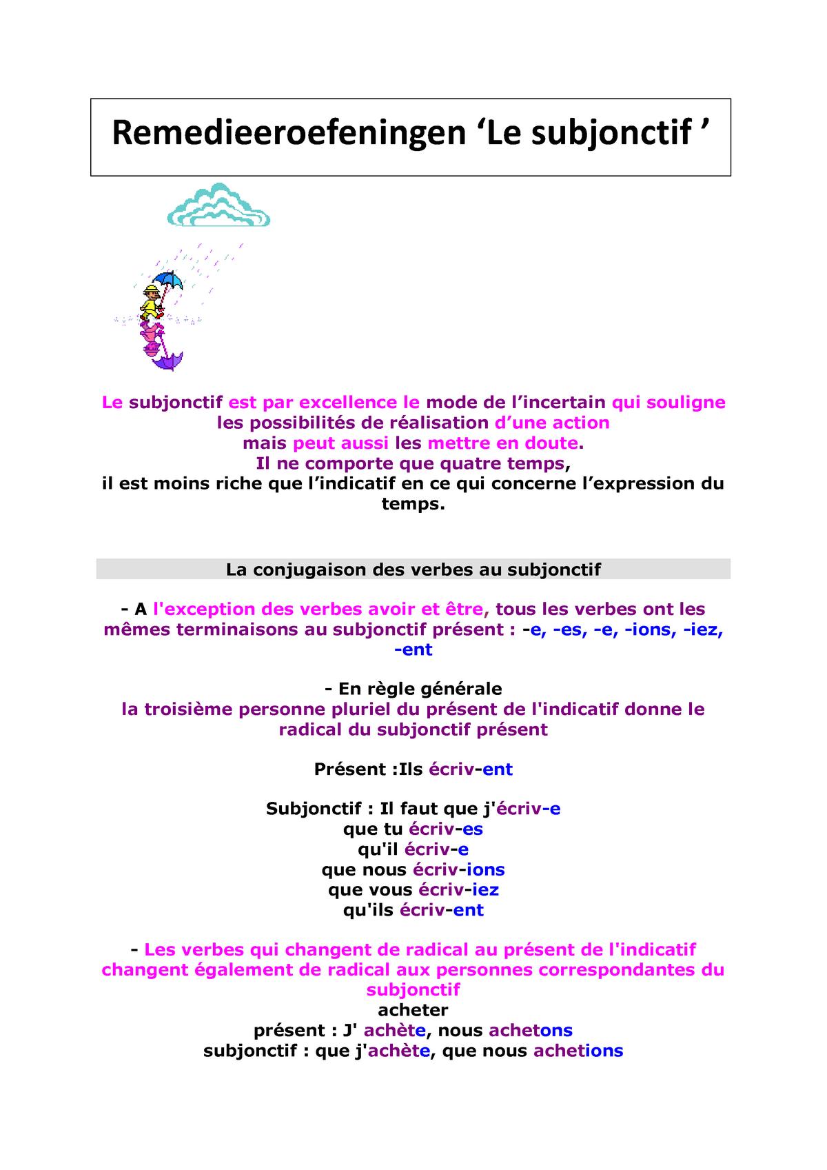 Ro Le Subjonctif Resume Frans Studocu