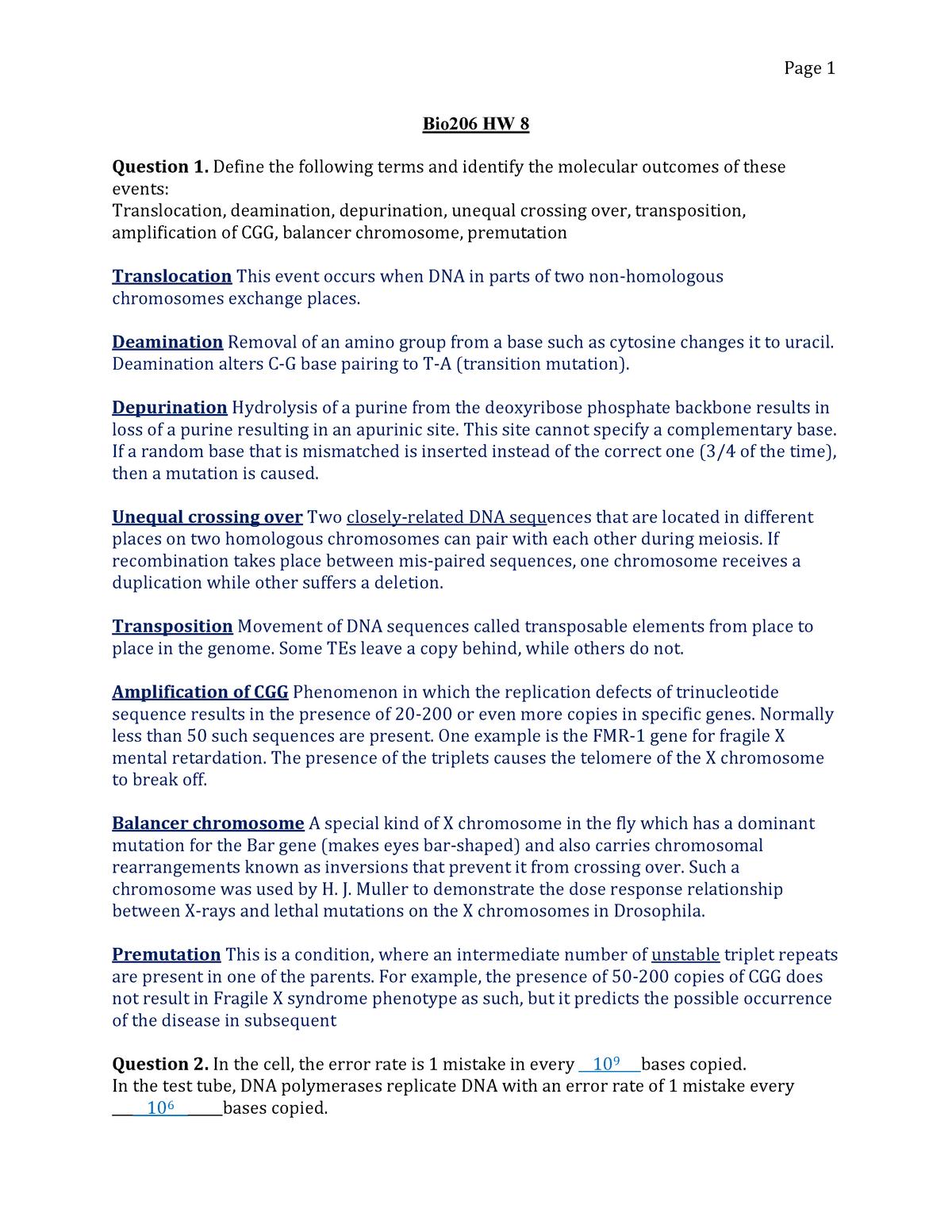 Homeworknumber8KEY - BIO 20600: Introduction To Genetics