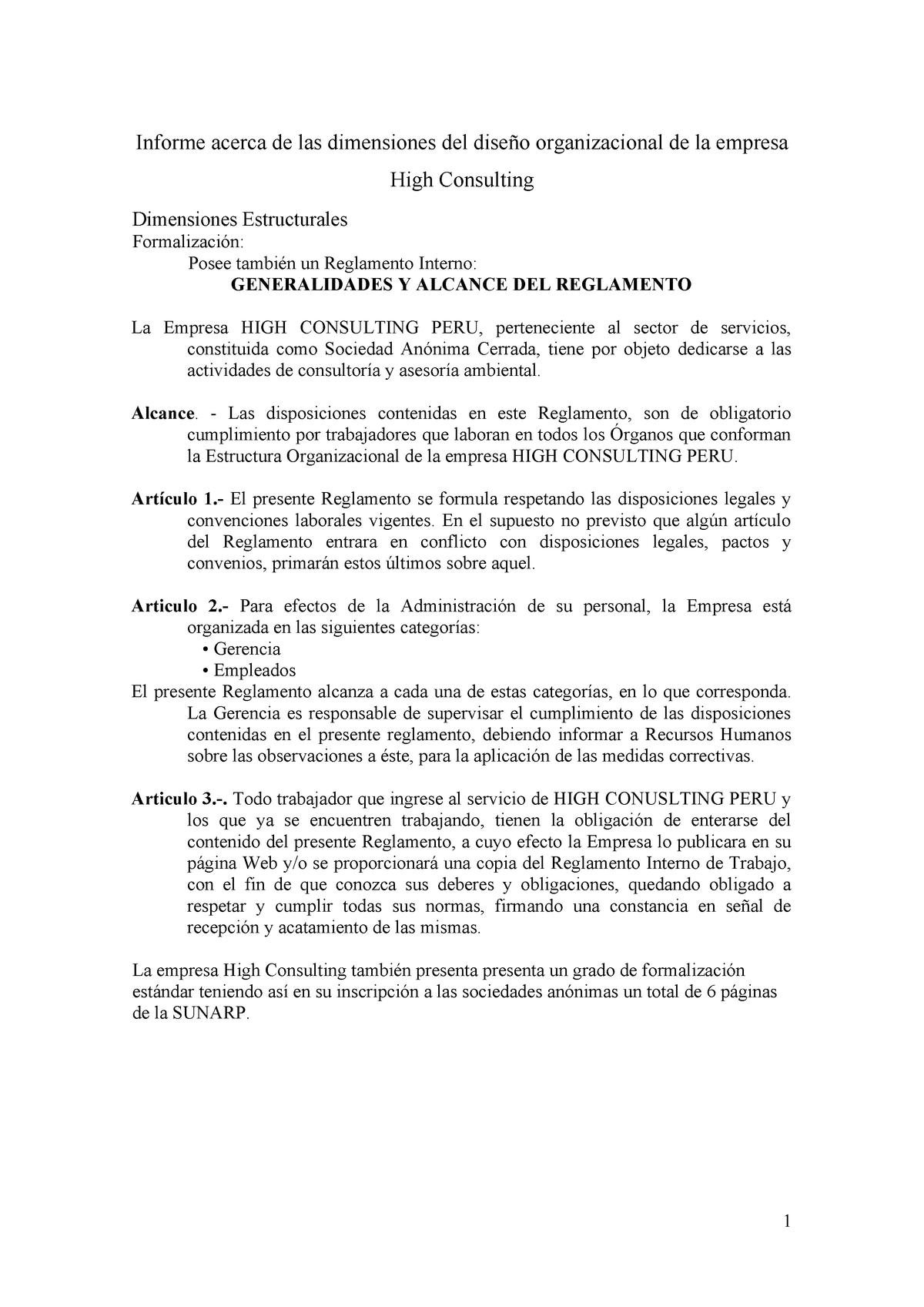 Informe Acerca De Las Dimensiones Del Diseño Organizacional