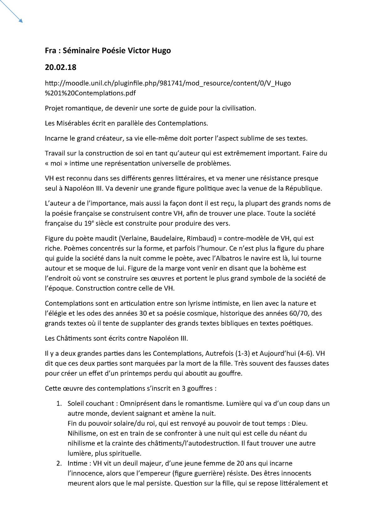Séminaire Poésie Victor Hugo Unil Studocu