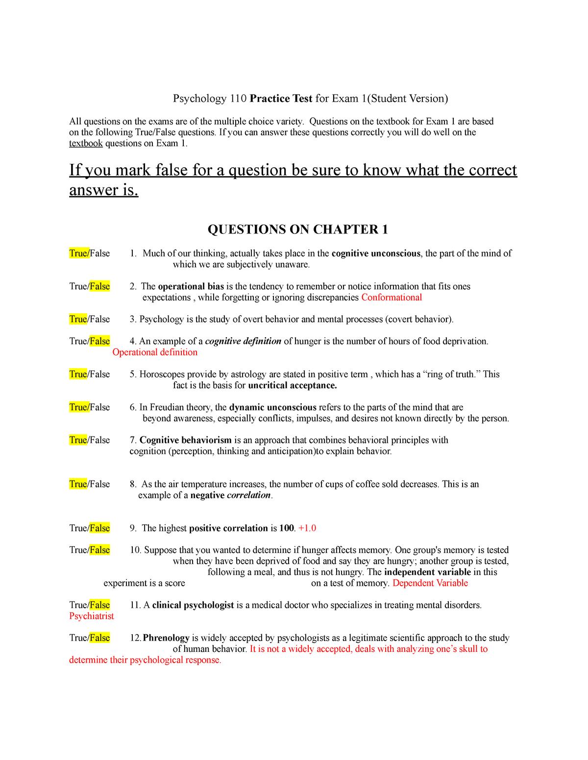 PSY 110 student practice exam 1 - PSY 201 Soc Psy: Psy Persp