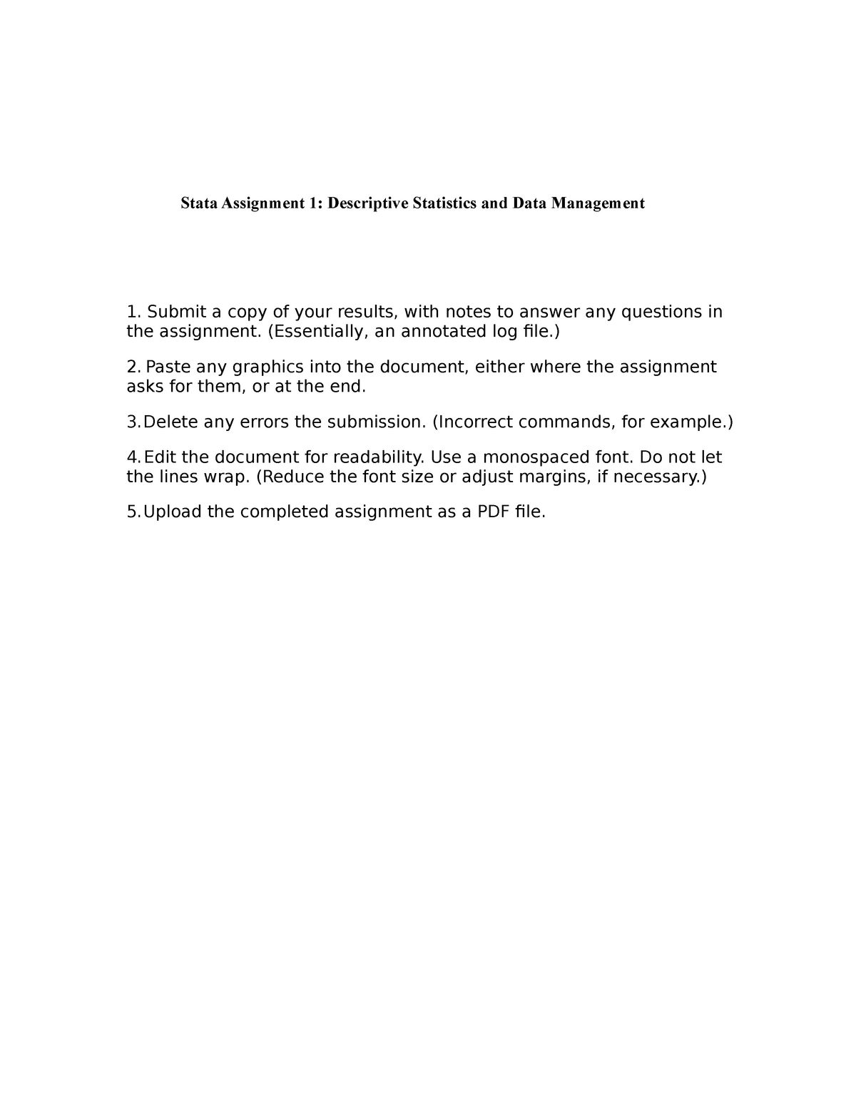 F17 Stata 1 - ECON 400: Elementary Statistics - StuDocu