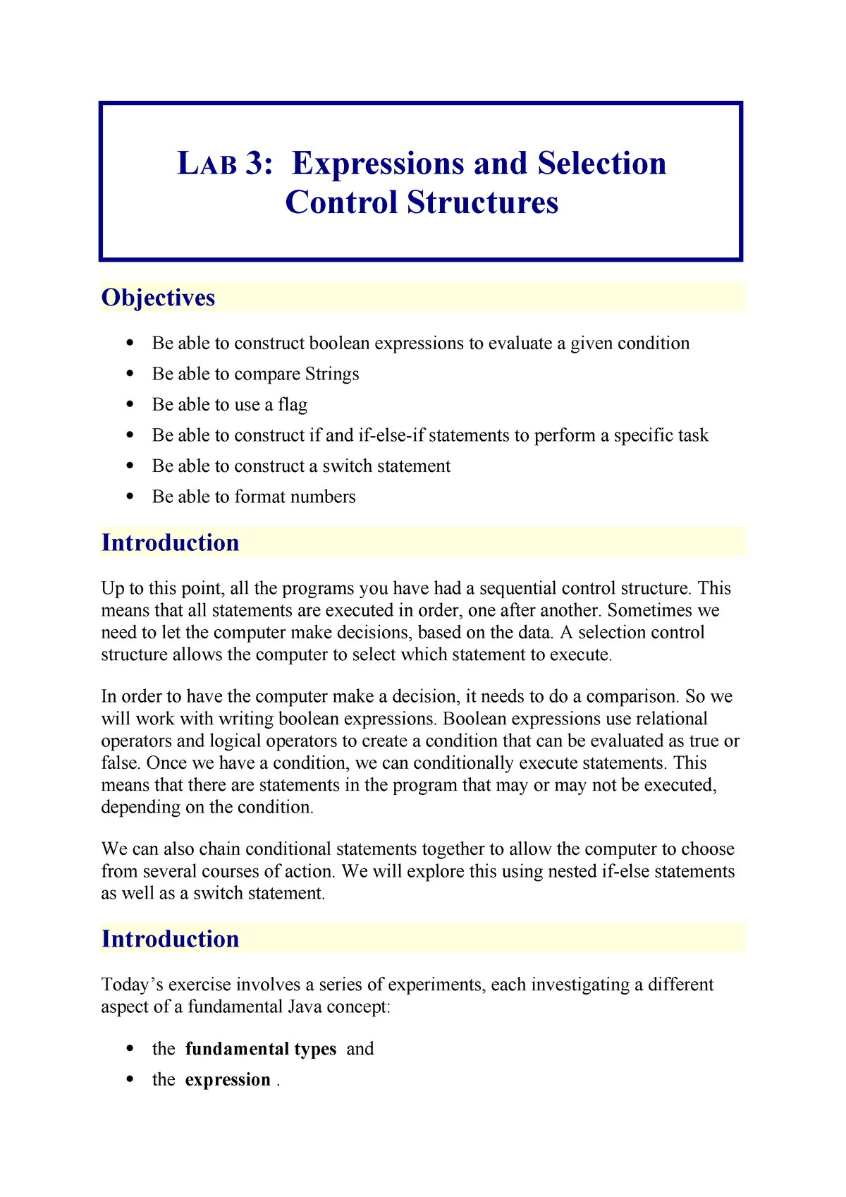 COMP131 Lab 3 - Expressions and Selection Control Structures